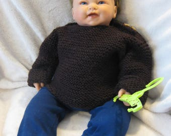 Brown sweater knit stitch Moss acrylic children 9 to 12 months.