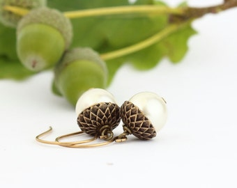 Ivory Pearl Acorn Earrings - Antique Gold Plated Brass Acorn Earrings - Dangle Earrings - Woodland Jewelry - Rustic - Autumn - Gift For Mom