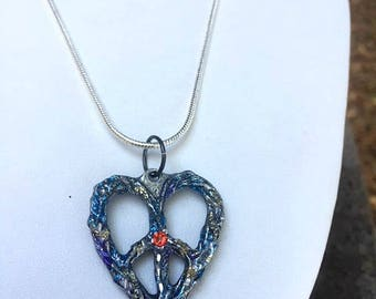 Peace Heart Pendant with Highlighted Details on Chain or Cord