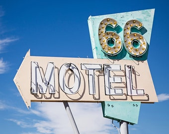 Route 66 Motel Sign, Route 66 decor, Vintage motel,  Travel photography, Road Trip, Wanderlust, Mid century, square, fine art metal print