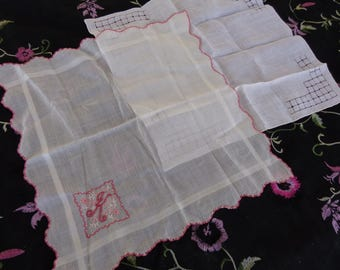 """Handkerchiefs - Two vintage lovely handkerchiefs - one Monogrammed with a """"K"""""""