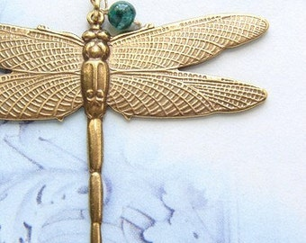 Dragonfly necklace, dragonfly pendant, jade bead, dragonfly jewelry, gift for nature lover, 14t gold filled chain necklace