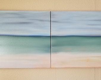 Ocean Beach Seaside Abstract Oil Painting Large