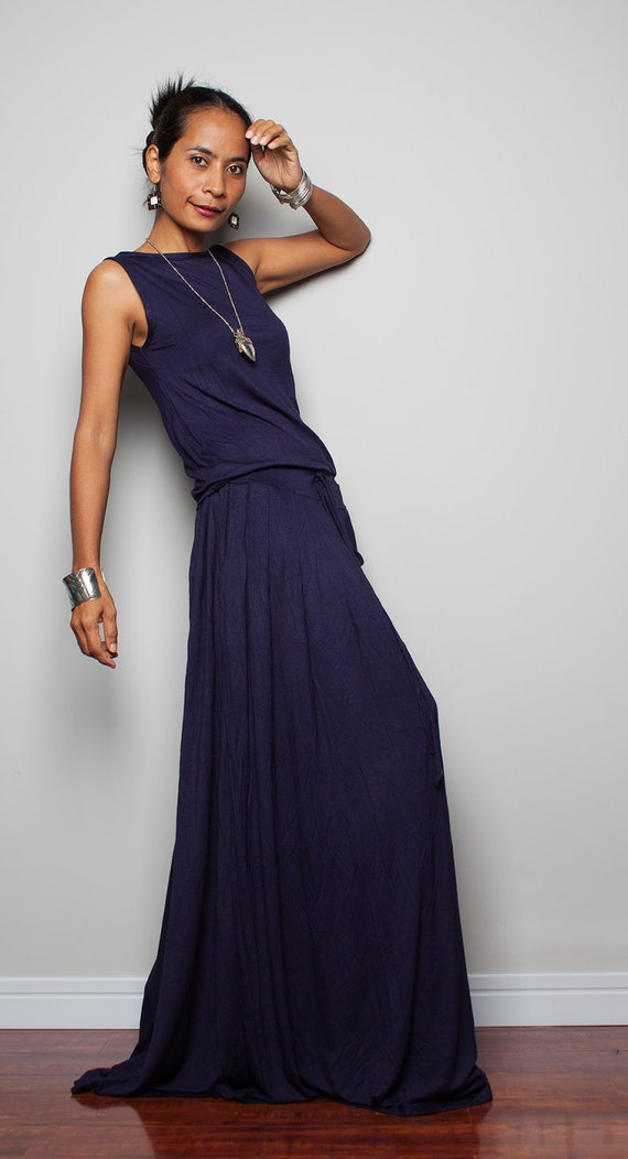 Plus Size Dress Navy Blue Maxi Dress Sleeveless Dress