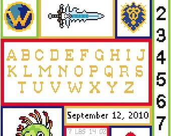 World of Warcraft Baby Birth Record Cross Stitch Pattern (PDF)
