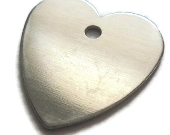Heart Aluminum blank tags 1-1/8 inch 16 gauge - thick with hole QTY 10