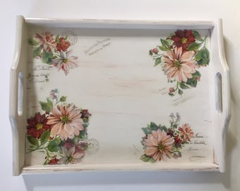 """Wooden Breakfast Tray, Serving Tray, Decorative Tray, Perfect Gift, Spring Time, Mother's Day Present """"Nostalgia"""""""