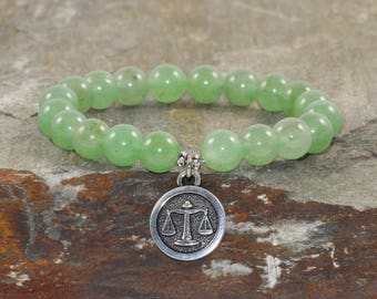 Libra Zodiac Bracelet Stack, Astrology Jewelry, Horoscope Bracelet, Aventurine Gemstone Bracelet, Healing Crystals, October Birthday Gift!