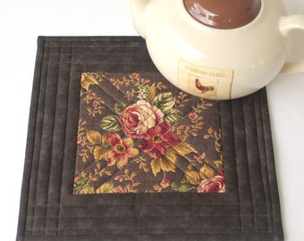 Quilted Trivet, Insulated Trivet, Roses Hot Pad, Brown Pot Holder, Casserole Mat, Quiltsy Handmade