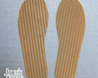 U. S. Sizes  Rubber soles Sandal soles, Shoe soles, and Slipper soles. Ships worldwide,  made in England by Joe's Toes