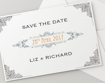 Printable Wedding Save The Date Download 'Ornate' // DIY TEMPLATE// Word Mac or PC // 5 x 7 // Change artwork colour // Luxury Design