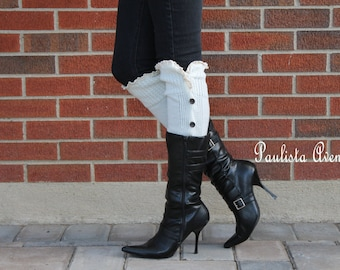 Knitted leg warmers OFF-WHITE button down leg warmers Lace legwarmers Boot socks Knee high Socks Knitted boot cuffs knit boot topper