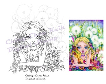 Dandelion Fairy Kingdom- Instant Download Digital Stamp / Flora Flower Fantasy Fairy Girl by Ching-Chou Kuik