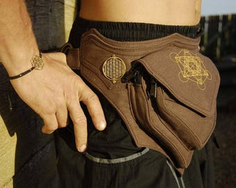 Festival Belt Utility Belt festival hip bag sacred geometry vegan cotton pocket belt seed of life canvas heavy duty large burning man UB2M