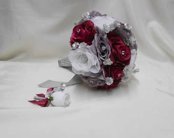 Wedding Silk Flower Bouquet Your Colors 2 pieces White Grey Wine Burgundy  Bride's Bouquet Silver Gray Groom Boutonniere FREE SHIPPING