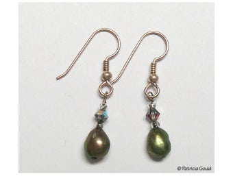 EA16 - Earrings - Swarovski crystal, fresh water pearls, sterling wires - one of a kind by Patricia Gould
