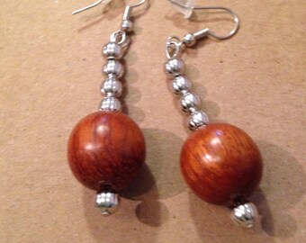 Wood and silver ear rings