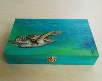 Storage Box sea turtle. handpainted Wooden Box