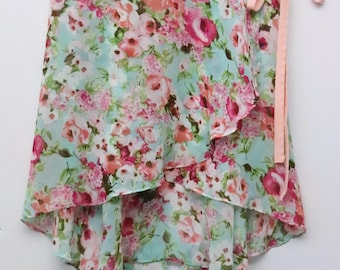 Bright Eggshell Blue Floral Ballet Wrap Skirt- Long