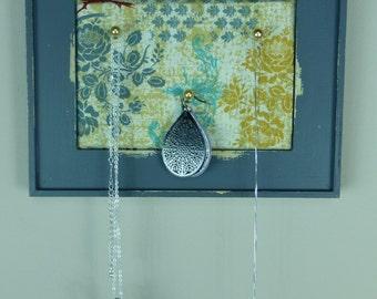 Grey Blue Distressed Framed Corkboard/Jewelry Organizer
