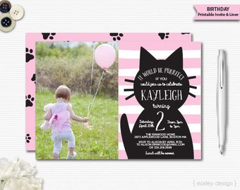 Cat Invitation Photo Kitty Invitation Picture Cat Invitation Printable Photo Invitation Cat Birthday Kitty Birthday Girls Birthday Invite