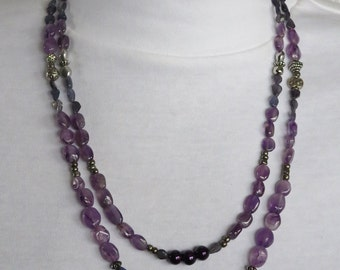 Amethyst and Iolite Beaded Necklace