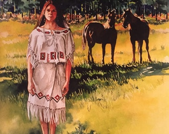 "Original Native American Painting ""Free Spirits"""
