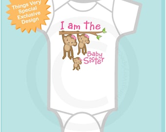 I am the Baby Sister Onesie or Shirt, Baby Sister Monkey T-shirt, Personalized Baby Sister Monkey Tee Shirt or Onesie (05252014a)