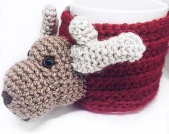 Reindeer Mug Cozy PDF Pattern, crochet mug cozy. Christmas mug cozy.