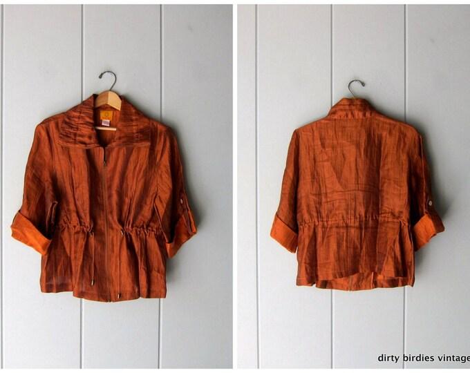Copper Linen Jacket Minimal Zip Up Athleisure Shirt Jacket 90s Modern Summer Drawstring Jacket Quarter Sleeves Oversized Womens 14 Large