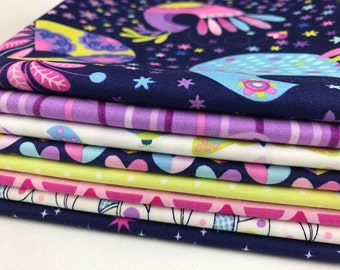 Michael Miller The Birds and the Bees by Tamara Kate ~ Cute Children's Fabric BUNDLE Fat Quarter or Half Yard