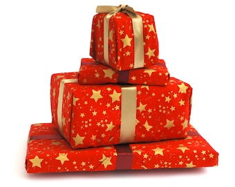 Christmas Reusable Gift Wrapping, Red with Gold Star Print Fabric with Ribbons sewn on