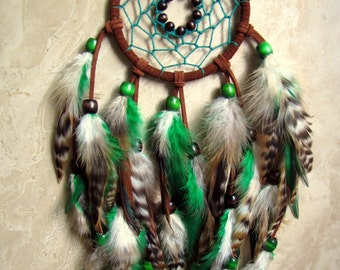 Dream Catcher - Large Brown and Green Feather Dream Catcher, Dreamcatcher