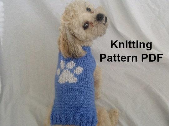 Dog sweater knitting pattern with paw print PDF small dog