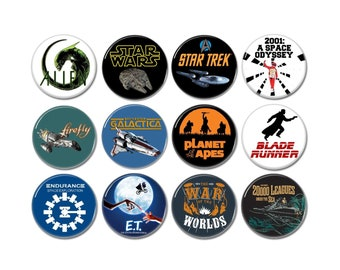 The Sci Fi That Made Us buttons set of 12! (31mm, badges, pins, pinbacks, movies, film, science fiction, space, geek)