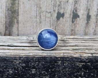 Kyanite Ring - Kyanite Stacking Ring - Sterling Silver - Blue - Kyanite Jewelry - Nature Jewelry - Stacking Ring - Bark Ring - Kyanite