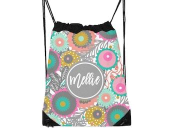 Drawstring Backpack, Drawstring Gym Bag, Drawstring Bag, Sleepover Bag, Flowers, Monogram, Personalized, Mod Flowers One