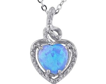 Blue Opal Heart Design Pendant .925 Sterling Silver