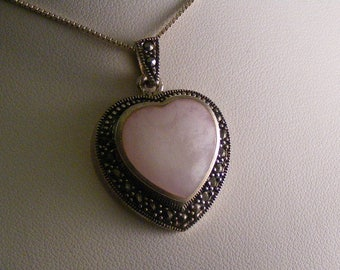 Vintage Ornate Pink Mother of Pearl Heart Pendant in Sterling Silver ..... Lot 4924