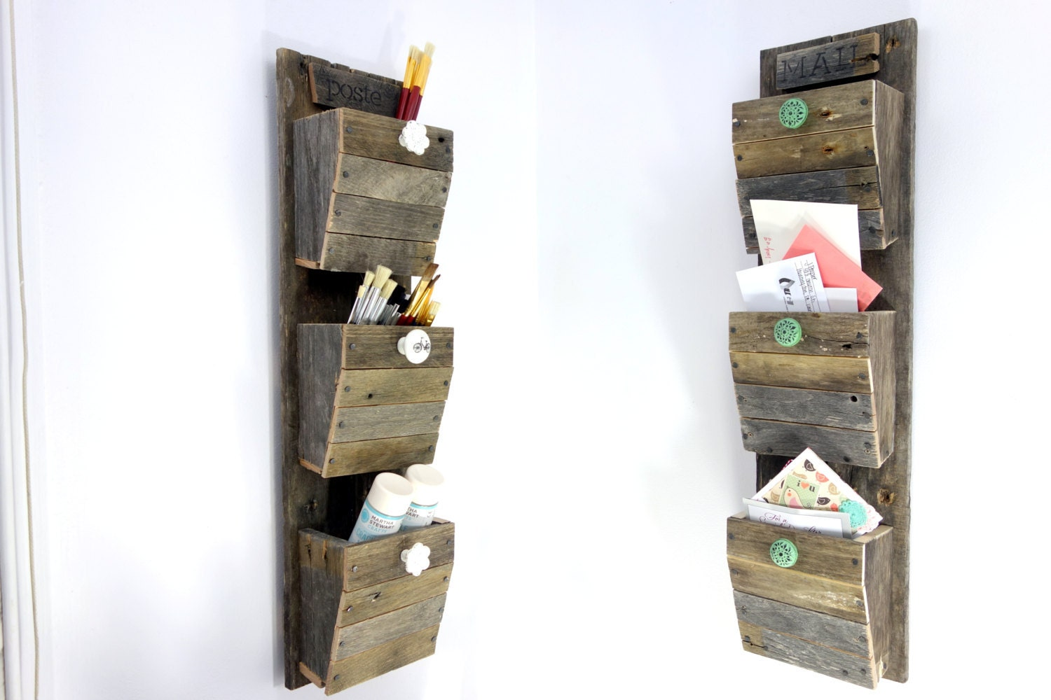 Wall Letter Bin Personalized Mail Organizer Reclaimed Wood Wall Hanging