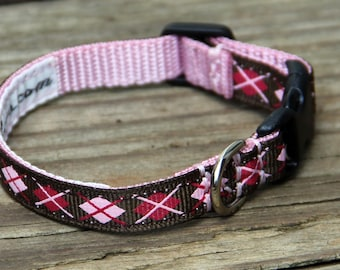 Argyle Pattern Dog Collar - narrow width for tiny dogs / puppies