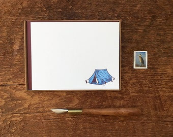 Camping Stationery, Tent Motif, Boxed Set of 8 Letterpress Flat Notes, Boxed Stationery
