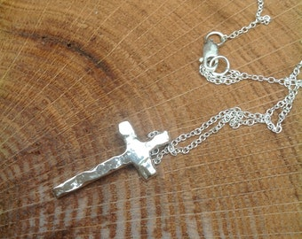 Handmade sterling silver 'rugged' cross pendant