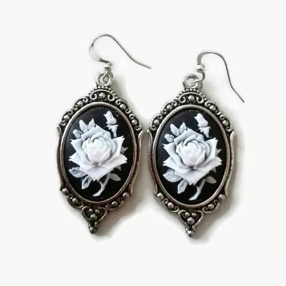Costume jewelry Statement earrings Goth earrings Cameo black dangle earrings Long black earrings Silver rose Vintage earrings Steampunk