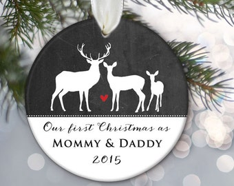 Our First Christmas as Mommy & Daddy Personalized Christmas Ornament New Parents Ornament Deer and Chalkboard Buck Doe Deer Gift OR337