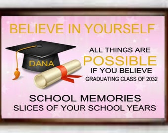 School Memory Keepsake Box,  Personalized First Day of School Photo Box, Graduation Keepsake Box, Commencement Memory Gift Box, Custom Made