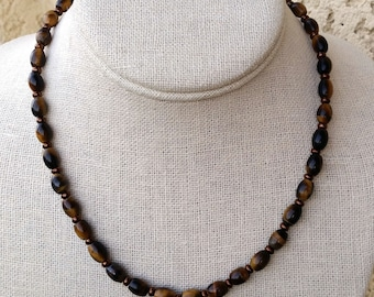 TIGER EYE NECKLACE for Men, Women. Red or Yellow Tiger Eye Short Necklace with Bronze. Tigereye Choker. Tiger's Eye Jewelry. Small Beads.