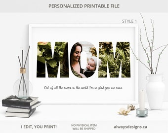 Personalized MOM Photo Collage, Mother's Day Gift, Gift For Mom, Birthday Gifts For Mom, Mothers Day Gift, Unique Gift, Digital File, JPG