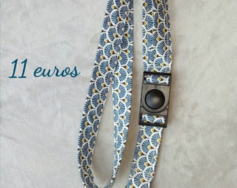 Keychain, cord Choker, badge, with removable buckle removable, fabric choice, to order