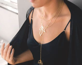 Gold Statement Necklace | Leaf Necklace | Gold Leaf Lariat Necklace | Multilayered Mecklace | Statement Necklace | Y Necklace | Gift For Her